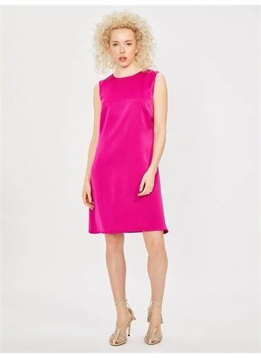 Vekem-Limited Edition Kolsuz Klasik Kesim Krep Elbise Fuşya